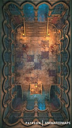 Prison Chambers Animated Battlemap - This prison hall has two rows of cells with some creepy prisoners and a big nasty torture area in t - Fantasy City Map, Fantasy World Map, Fantasy Places, Dungeon Tiles, Dungeon Maps, Dungeons And Dragons Homebrew, D&d Dungeons And Dragons, Prison, Dnd World Map
