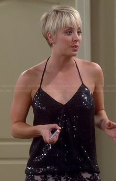 Penny's black sequinned halter top and lace shorts on The Big Bang Theory. Outfit Details: http://wornontv.net/38206/ #TheBigBangTheory sooo cute