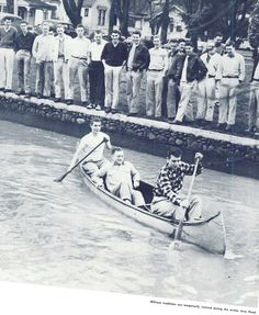 Students canoe in the Millrace after flooding in 1947 broke the dikes and temporarily re-filled the Millrace with water. From the 1948 Oregana (University of Oregon yearbook). www.CampusAttic.com