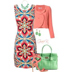 """""""Coral & Green"""" by gracekathryn on Polyvore"""
