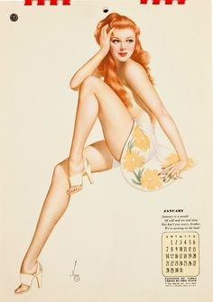 """Calendar Pinup Girl   Tattoo Ideas & Inspiration - Pinups   Alberto Vargas, 1940s. """"JANUARY. January is a month of cold and ice and sleet. But don't you worry, brother, we're turning on the heat!"""""""