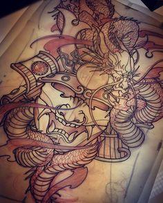 Amsterdam TATTOO 1825 Dragon Samurai Mask Back piece tattoo design