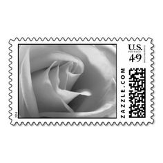 Black And White Rose Wedding Postage