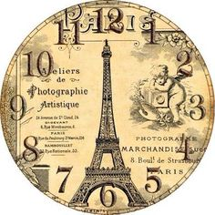 VER HORAS EM PARIS?????.......MB Clock Craft, Diy Clock, Clock Decor, Clock Face Printable, Clock Template, Diy Crafts Slime, Cool Clocks, Decoupage Paper, Printable Designs