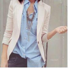 Boyfriend shirt + blazer + statement necklace... Love...