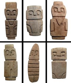 Valdivian stone figures are rectangular in shape with delineated eyes and features in characteristic minimalist style, Ecuador. (Around 3500-2000 B.C.)  The Valdivia Culture is one of the oldest settled cultures recorded in the Americas. It emerged from the earlier Las Vegas culture and thrived on the Santa Elena peninsula near the modern-day town of Valdivia, Ecuador between 3500 BC and 1800 BC.
