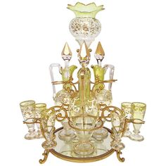 1stdibs | Extremely Rare Moser Liqueur Stand Epergne c. 1900