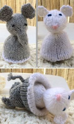 Free Knitting Pattern for Elephant & Mouse Topsy Turvy Toy - This elephant transforms into a mouse by flipping the bottom of the animal over. 3 inches tall Designed by Susan B. Pictured project by TCosy Knitting Bear, Knitted Teddy Bear, Knitting Toys, Knitted Dolls, Crochet Toys, Knitting Patterns Free, Free Knitting, Fabric Animals, Knitted Animals
