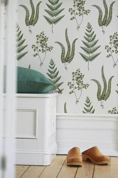 The wallpaper pattern Herba from Boråstapeter Herba from Falsterbo II is a white green light wallpaper in foliage plants style