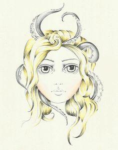 Octopus Girl Art Print by lisabulpin Mellow Yellow, Octopus, Art Girl, Art Prints, Drawings, Painting, Art Impressions, Fine Art Prints, Painting Art