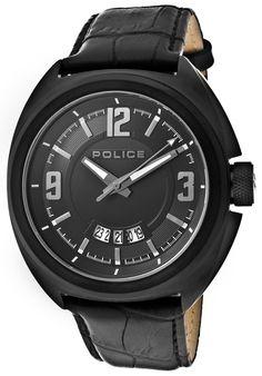 Police 13404JSB-02 Watches,Men's Gambler Black Dial Black IP Case Black Calf Leather, Casual Police Quartz Watches