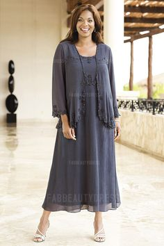 Sheath/Column Jewel Tea-length Chiffon Mother of the Bride Dress