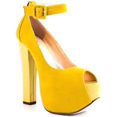 Luichiny More Of It - Yellow Suede ($90) ❤ liked on Polyvore