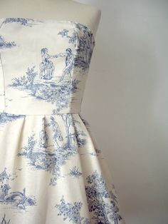 charming toile dress for the bridesmaids (would like to add spaghetti or halter straps)