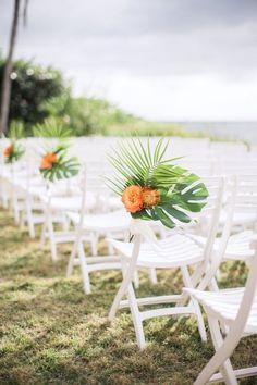 Tropical wedding ceremony aisle ideas