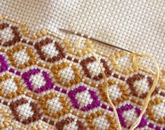 Lovely combination of cross-stitch and huck weaving embroidery