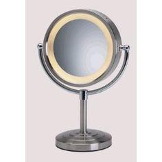 "8-1/2"" Brushed Nickel Finish Halo Lighted Pedestal Makeup Mirror (Misc.)  http://www.amazon.com/dp/B000LMJI82/?tag=goandtalk-20  B000LMJI82"