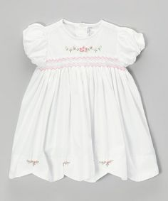 Another great find on #zulily! White & Pink Rosette Smocked Dress - Infant & Toddler #zulilyfinds