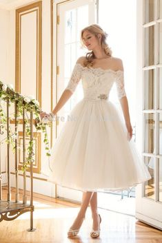 Maternity Wedding Dresses 2016 Cute A Line Short Wedding Dress With Sleeves Lace Off Shoulder Beaded Sash Tulle Summer Dresses For Brides Vestido De Noiva Curto A Line Wedding Dresses Strapless From Adminonline, $135.07| Dhgate.Com