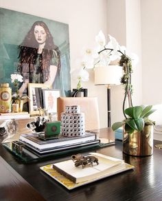 10 Tips for Creating the Ultimate At-Home Office// office design, orchids, desk styling