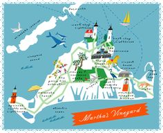 Martha's Vineyard / illustration by Lena Corwin. four more days and i'll be there. #maps #MV #Martha's #Vineyard #