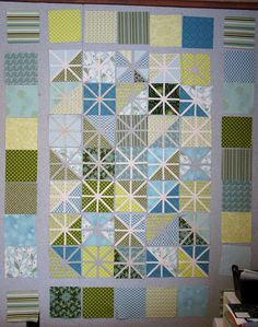 I love cut to pieces' sense of style in all of the in-progress quilts in this post.  Tutorial for Asterisk Block in photo here - http://selvageblog.blogspot.com/2010/06/quilt-along-asterisk-quilt-post-2.html