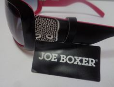 0163d633bf Joe Boxer Pink   Black Sunglasses NWT Skull Accents 100% UV Protection   JoeBoxer