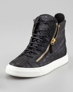 Croc-Embossed Low Top Sneaker, Black by Giuseppe Zanotti -well these aren't for working out...lol