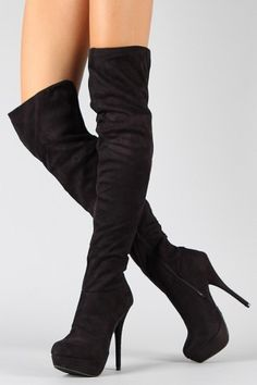 WOMENS LADIES BLACK FLAT HEEL OVER THE KNEE THIGH HIGH SUEDE ...