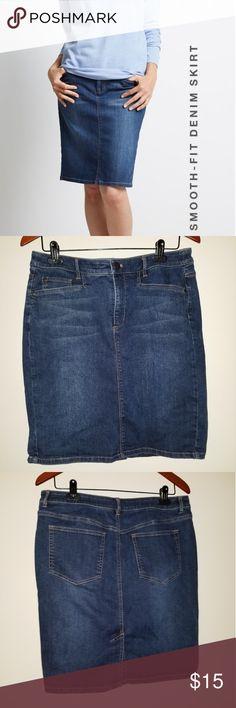 2158348064 J JILL Smooth Fit Denim Skirt, size 10 PRICE FIRM Nice dark wash denim  pencil