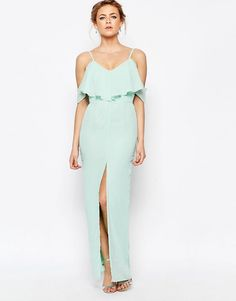 Image 1 ofElise Ryan Frill Maxi Dress With Split Front