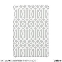 Chic Gray Moroccan Trellis iPad Mini Cases