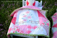 Doll Quilt made from vintage handkerchief | Simple Simon & Company: