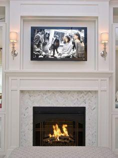 Carrera Marble In Herringbone Fireplace Mantle Surround Moulding Built