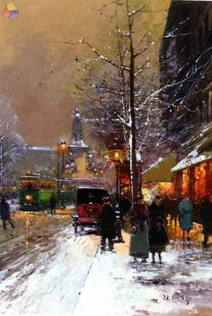 """""""Paris Place de la Republique"""" by Edouard Leon Cortes. I quite like this one - like an early century update on the Impressionists' Paris street scenes from a generation or 2 earlier. Art Watercolor, Photo D Art, Wow Art, Wassily Kandinsky, Fine Art, Monet, Vincent Van Gogh, Beautiful Paintings, Amazing Art"""