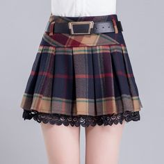 Korean Winter Grid Pleated Skirt SD01696