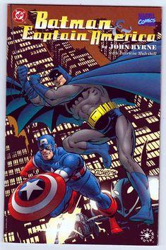 Batman Captain America DC Comics John Byrne Cover Art, Story, And Pencils Prestige format, Elseworlds. Captain America Batman fight Joker and Red Skull during WWII. Rare Comic Books, Comic Books For Sale, Dc Comics, Batman Comics, Cbr, Gotham, Batman Fight, Robin, Comic Book Publishers