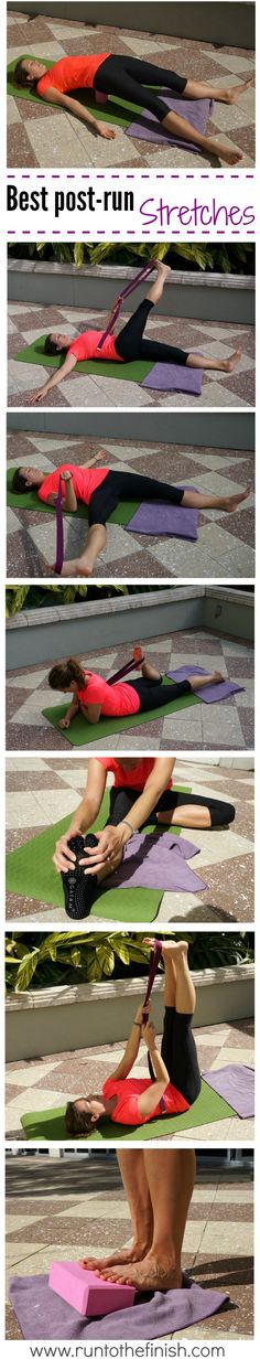 Restorative Post Run Stretches for IT Band and Hips - Pin it to remember later from www.runtothefinish.com