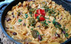 Mexikói csirkés tészta recept fotóval Penne, Paella, Cheeseburger Chowder, Macaroni And Cheese, Recipies, Spaghetti, Food And Drink, Pizza, Soup