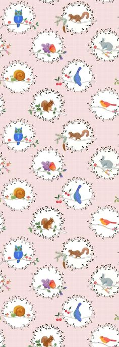 Lilleby Kids  (2691) - Boråstapeter Wallpapers - Pretty birds and animals with decorative details in circular motifs on a pale pink checked background - supplied as a single panel wallcovering in one length, 90cm wide and 265cm long. Paste the wall. SAMPLES NOT AVAILABLE.