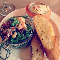 New seafood salad at @brasseriestl marinated shrimp, squid, piquillo peppers, olives