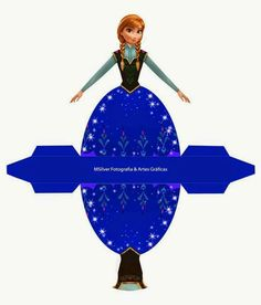 Anna from Frozen: Free Printable Dress Shaped Box. Disney Frozen Party, Frozen Birthday Party, Disney Princess Birthday, Frozen Free, Disney Paper Dolls, Princess Cupcake Toppers, Disney Crafts, Paper Toys, Paper Crafts