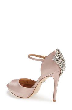 Badgley Mischka 'Gene' Crystal Back Ankle Strap Pump (Women) Satin Pumps, Women's Pumps, Heels, Sneaker Boots, Bridal Hair Accessories, Badgley Mischka, Wedding Shoes, Me Too Shoes, Open Toe