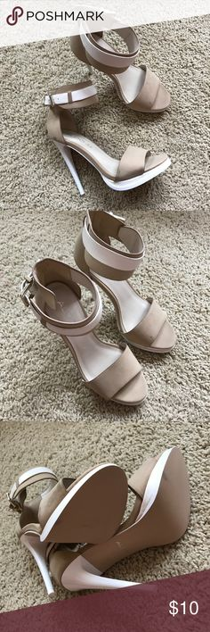 "Aldo 5"" Ankle Strap Cream/White Heel Sandals New. Buckle closure. Size 6. Cream and white. Aldo Shoes Heels"