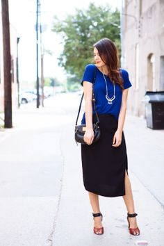 Colourful Tee, Long Black Skirt, Strappy Sandals, Black Watch, Black Over Shoulder Bag, Long Necklace w/ Statement Pendant, Dressy Casual
