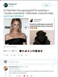 this isnt fucking racist. this isnt fucking blackface. she's literally the color black - NOT the skintone. STOP.