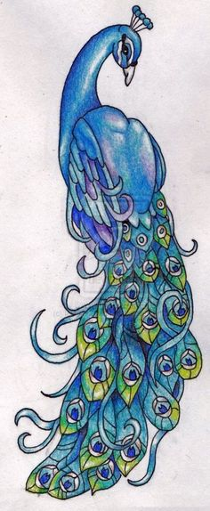 Peacock By Ice Wolf Elemental Traditional Art Drawings Animals Tattoo. I do want a peacock kinda like this but more purple! Peacock Painting, Peacock Art, Peacock Outline, Peacock Sketch, Peacock Quilt, Peacock Design, Peacock Blue, Animal Drawings, Art Drawings