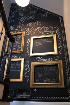 Chalkboard prayer wall - she used empty frames for each family member to write their prayers. This will be happening in my home. Prayer Wall, Prayer Room, Prayer Closet, Deco Cool, Kitchen Chalkboard, Chalkboard Wall Bedroom, Chalkboard Decor, Chalkboard Paint Walls, Chalkboard Frames