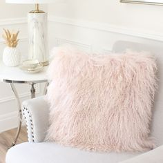 Plush Nude Pink, Tibetan Mongolian Sheepskin Fur cushion. The Perfect Accessory to add to your little girls bedroom or Baby Nursery for that Glamorous finish.