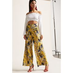 Forever21 Floral Palazzo Pants ($25) ❤ liked on Polyvore featuring pants, high waisted palazzo trousers, floral palazzo pants, forever 21, high-waisted trousers and white high waisted trousers